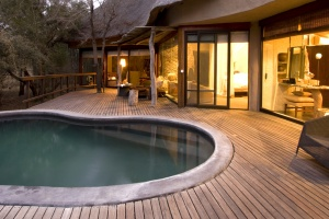 Safari lodge deck with pool